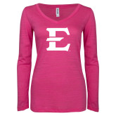 ENZA Ladies Hot Pink Long Sleeve V Neck Tee-E - Offical Logo