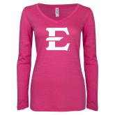 ENZA Ladies Hot Pink Long Sleeve V Neck Tee-E - Offical Logo