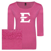 Ladies Dark Fuchsia Heather Tri Blend Lace 3/4 Sleeve Tee-E - Offical Logo