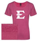 Ladies Dark Fuchsia Heather Tri-Blend Lace Tee-E - Offical Logo