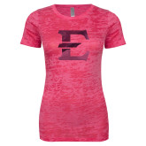 Next Level Ladies Junior Fit Fuchsia Burnout Tee-E - Offical Logo Foil