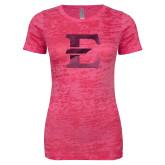 Next Level Ladies Junior Fit Fuchsia Burnout Tee-E - Offical Logo Foil