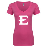 Next Level Ladies Junior Fit Deep V Pink Tee-E - Offical Logo