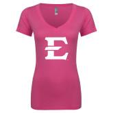 Next Level Ladies Junior Fit Deep V Pink Tee-E - Offical Logo