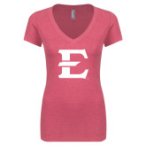 Next Level Ladies Vintage Pink Tri Blend V-Neck Tee-E - Offical Logo