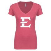 Next Level Ladies Vintage Pink Tri Blend V-Neck Tee-E - Offical Logo