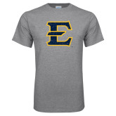 Grey T Shirt-E - Offical Logo Distressed