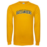 Gold Long Sleeve T Shirt-Arched East Tennessee University Buccaneers