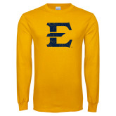Gold Long Sleeve T Shirt-E - Offical Logo Distressed