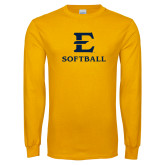 Gold Long Sleeve T Shirt-E Softball