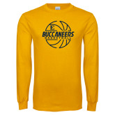 Gold Long Sleeve T Shirt-Basketball Outline Design