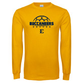 Gold Long Sleeve T Shirt-Soccer Outline Design