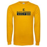 Gold Long Sleeve T Shirt-Golf Flag Design