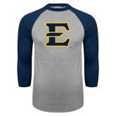 Grey/Navy Raglan Baseball T Shirt-E - Offical Logo