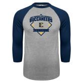 Grey/Navy Raglan Baseball T Shirt-Softball Field