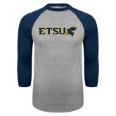 Grey/Navy Raglan Baseball T Shirt-ETSU w/ Buccaneer Head