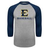 Grey/Navy Raglan Baseball T Shirt-E Baseball