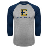 Grey/Navy Raglan Baseball T Shirt-E Softball