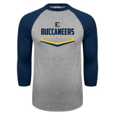 Grey/Navy Raglan Baseball T Shirt-Baseball Plate Design
