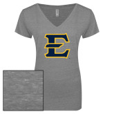 ENZA Ladies Graphite Melange V Neck Tee-E - Offical Logo
