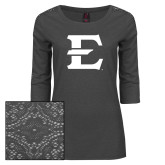 Ladies Charcoal Heather Tri Blend Lace 3/4 Sleeve Tee-E - Offical Logo