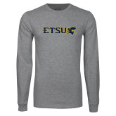 Grey Long Sleeve T Shirt-ETSU w/ Buccaneer Head