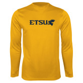 Performance Gold Longsleeve Shirt-ETSU w/ Buccaneer Head