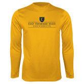 Performance Gold Longsleeve Shirt-East Tennessee University - Institutional Mark