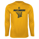 Performance Gold Longsleeve Shirt-Basketball Net Design