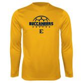 Syntrel Performance Gold Longsleeve Shirt-Soccer Outline Design
