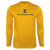 Performance Gold Longsleeve Shirt-East Tennessee Tough Stacked
