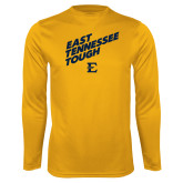 Performance Gold Longsleeve Shirt-East Tennessee Tough Slant
