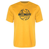 Performance Gold Tee-Basketball Outline Design