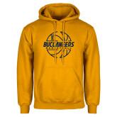 Gold Fleece Hoodie-Basketball Outline Design