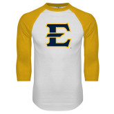 White/Gold Raglan Baseball T-Shirt-E - Offical Logo