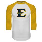 White/Gold Raglan Baseball T-Shirt-E - Offical Logo