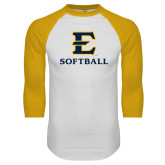 White/Gold Raglan Baseball T-Shirt-E Softball