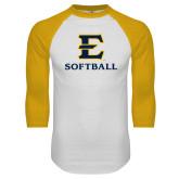 White/Gold Raglan Baseball T-Shirt-E Softball