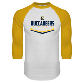 White/Gold Raglan Baseball T-Shirt-Baseball Plate Design