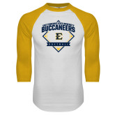 White/Gold Raglan Baseball T-Shirt-Softball Field