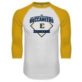 White/Gold Raglan Baseball T-Shirt-Softball Field