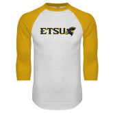 White/Gold Raglan Baseball T-Shirt-ETSU w/ Buccaneer Head