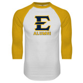 White/Gold Raglan Baseball T-Shirt-Alumni