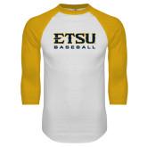 White/Gold Raglan Baseball T-Shirt-Baseball