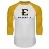 White/Gold Raglan Baseball T-Shirt-E Baseball