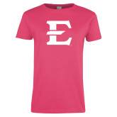 Ladies Fuchsia T Shirt-E - Offical Logo