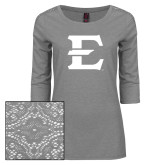 Ladies Grey Heather Tri Blend Lace 3/4 Sleeve Tee-E - Offical Logo