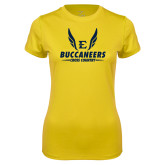 Ladies Syntrel Performance Gold Tee-Cross Country Wings
