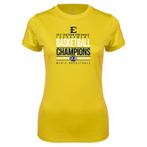 Ladies Syntrel Performance Gold Tee-2017 Southern Conference Tournament Mens Basketball Champions Stacked