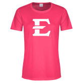 Ladies Performance Hot Pink Tee-E - Offical Logo